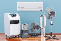 Dispositivos eléctricos del enfriamiento y del clima en el piso de madera 3d ren ilustración del vector