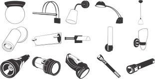 Dispositivos elétricos e lanterna elétrica de iluminação Fotos de Stock