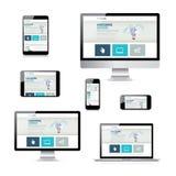 Dispositivos electrónicos aislados del vector con diseño web responsivo Fotografía de archivo