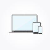 Dispositivos electrónicos con las pantallas en blanco Ordenador portátil, Smartphone Ejemplo plano del vector del diseño Imagen de archivo libre de regalías