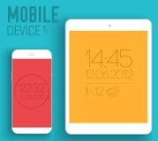 Dispositivos electrónicos móviles en concepto plano del estilo Foto de archivo