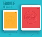 Dispositivos electrónicos móviles en concepto plano del estilo Imagen de archivo