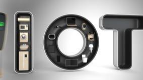 Dispositivos elegantes en la palabra IoT Internet de cosas en productos de consumo ilustración del vector