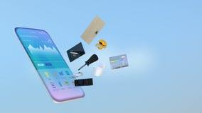 Dispositivos elegantes en un teléfono elegante stock de ilustración