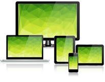 Dispositivos eletrónicos com tela verde Imagem de Stock