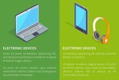 Dispositivos eletrónicos portátil e tabuleta dos fones de ouvido ilustração royalty free