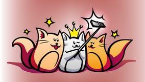 Dispositivos espertos e gatos bonitos dos desenhos animados Foto de Stock
