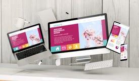 dispositivos flotantes en la oficina con el homepage responsivo impresionante ilustración del vector