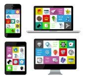 Dispositivos isolados com infographics Fotografia de Stock Royalty Free