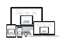 Dispositivos isolados responsivos - Web site do negócio Imagens de Stock