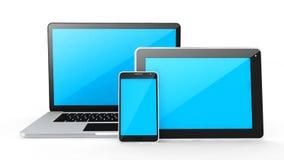 Dispositivos-labtop de Digitas, tabuleta e telefone esperto Imagens de Stock Royalty Free