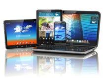 Dispositivos móveis PC do portátil, do Smartphone e da tabuleta Fotografia de Stock