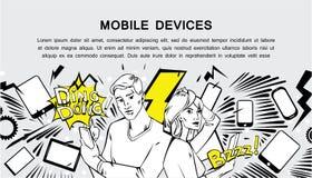 Dispositivos móviles - bandera cómica retra del estilo Fotografía de archivo