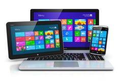 Dispositivos móviles con el interfaz de la pantalla táctil Fotografía de archivo libre de regalías