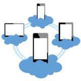 Dispositivos móviles conectados en nube Ilustración del Vector