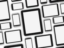 Dispositivos móviles en blanco Imagenes de archivo