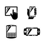 Dispositivos móviles Iconos relacionados simples del vector Fotografía de archivo