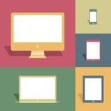 Dispositivos móviles y pantallas en estilo del vintage Stock de ilustración