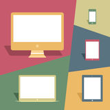 Dispositivos móviles y pantallas en estilo del vintage libre illustration