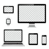 Dispositivos modernos de la tecnología con la pantalla transparente del papel pintado aislada ilustración del vector