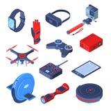 Dispositivos modernos, grupo isométrico dos ícones do vetor 3d dos dispositivos Realidade virtual, robôs, conceito futuro esperto ilustração do vetor
