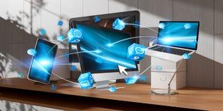 Dispositivos modernos na rendição 3D interior do desktop ilustração royalty free