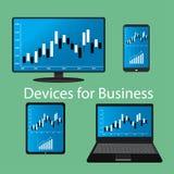 Dispositivos para el negocio, diseño plano Imagen de archivo libre de regalías