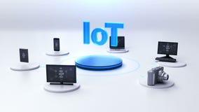 Dispositivos que conectam o serviço de IoT, Internet das coisas ilustração royalty free