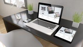 dispositivos que pretos do desktop nós projetamos Imagens de Stock
