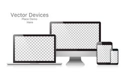 Dispositivos realísticos ajustados do vetor em um fundo branco ilustração royalty free