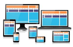 Dispositivos realísticos do computador móvel que mostram a laranja inteiramente responsiva do design web