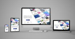 dispositivos responsivos construtor isolado do Web site do projeto ilustração royalty free