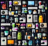 Dispositivos un sistema de iconos coloreados Vector plano Fotos de archivo libres de regalías