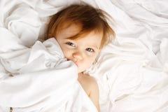 Disposizione bianca del coperchio dello strato del bambino Fotografie Stock Libere da Diritti
