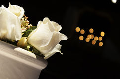 Disposizione bianca delle rose Fotografia Stock