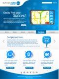 Disposizione blu del modello di Web di affari Fotografia Stock