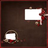 Disposizione con due blocchi per grafici della foto su priorità bassa scura Fotografia Stock Libera da Diritti