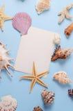 Disposizione creativa fatta delle conchiglie e della cartolina d'auguri variopinte differenti Fotografia Stock Libera da Diritti