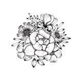 Disposizione dei fiori in bianco e nero disegnata a mano Fondo per le carte e le citazioni illustrazione di stock