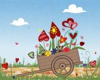 Disposizione dei fiori dei cuori variopinti in un carretto, San Valentino, buon compleanno illustrazione vettoriale