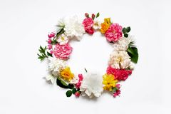 Disposizione dei fiori di Alstroemeria, eustoma, rose, cuore di emorragia su un fondo bianco Immagini Stock