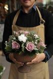 Disposizione dei fiori festiva delle rose di paleviolet e dei fiori del cotone nel fiorista del vaso che tiene al boutique dei fi immagini stock