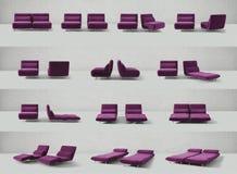 Disposizione dei posti a sedere porpora, presidenze, sofà Immagine Stock