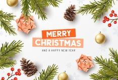 Disposizione del fondo della composizione in Buon Natale illustrazione di stock