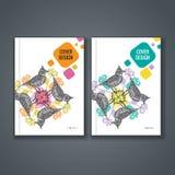 Disposizione del modello dell'opuscolo, progettazione della copertura del rapporto annuale, libro, rivista Immagine Stock