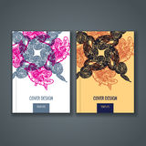 Disposizione del modello dell'opuscolo, progettazione della copertura del rapporto annuale, libro, rivista Fotografia Stock Libera da Diritti