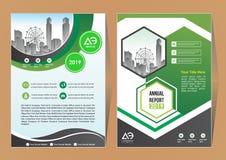 Disposizione del modello dell'opuscolo, rapporto annuale di progettazione della copertura, rivista, aletta di filatoio o libretto royalty illustrazione gratis