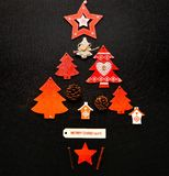 Disposizione del piano dell'ornamento dell'albero di Natale Fotografie Stock Libere da Diritti