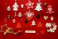 Disposizione del piano della raccolta dell'ornamento di Natale Fotografia Stock