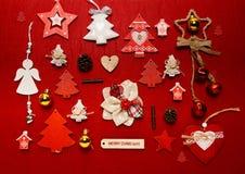 Disposizione del piano della raccolta dell'ornamento di Natale Fotografie Stock Libere da Diritti